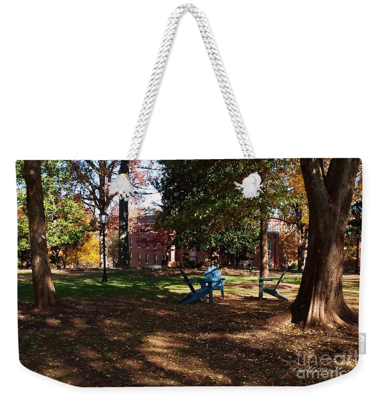 Art Weekender Tote Bag featuring the photograph Adirondack Chairs 2 - Davidson College by Paulette B Wright