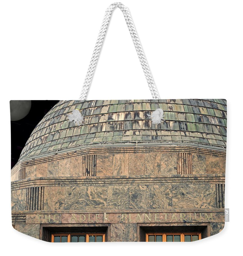Chicago Weekender Tote Bag featuring the photograph Adler Planetarium Signage by Thomas Woolworth