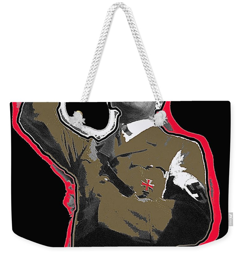 Adolf Hitler Saluting 2 Circa 1933 Collage Color Added Weekender Tote Bag featuring the photograph Adolf Hitler Saluting 2 Circa 1933-2009 by David Lee Guss
