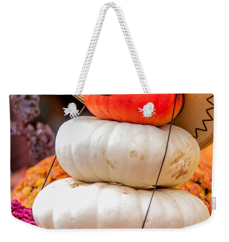 Cowboy Weekender Tote Bag featuring the photograph Adorable Cowboy Pumpkin Figures Made From Pumpkins by Alex Grichenko