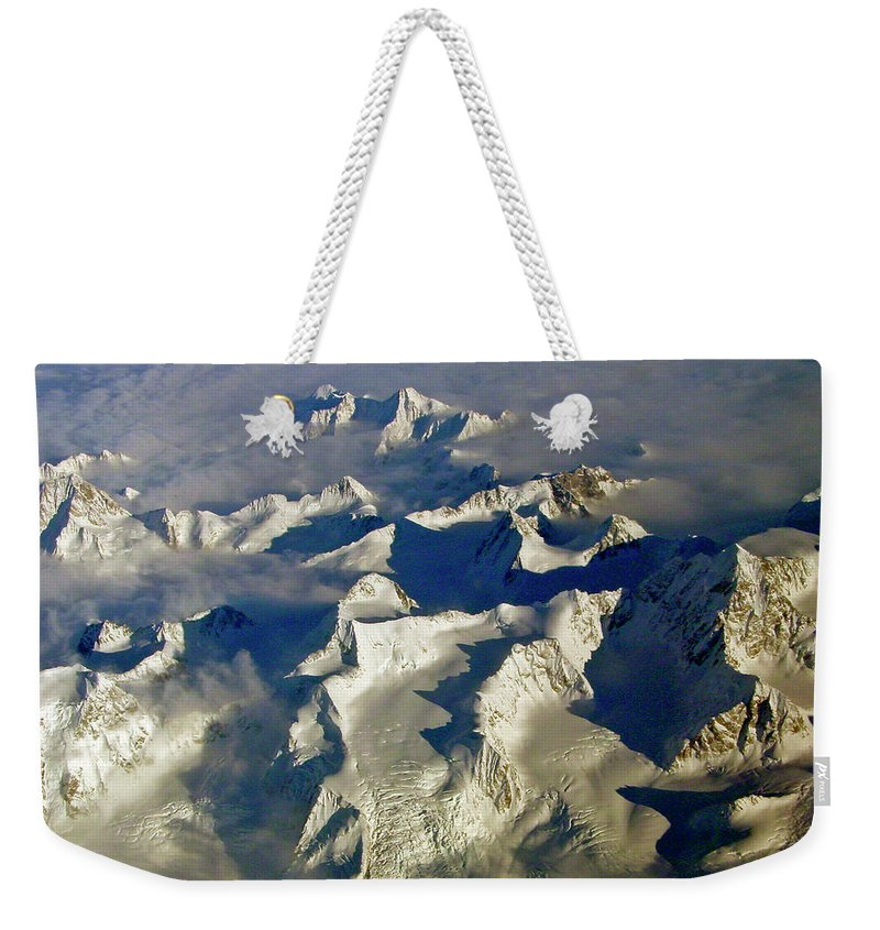 Aerial Photography Weekender Tote Bag featuring the photograph Aerial Ice Fields by Jeremy Rhoades