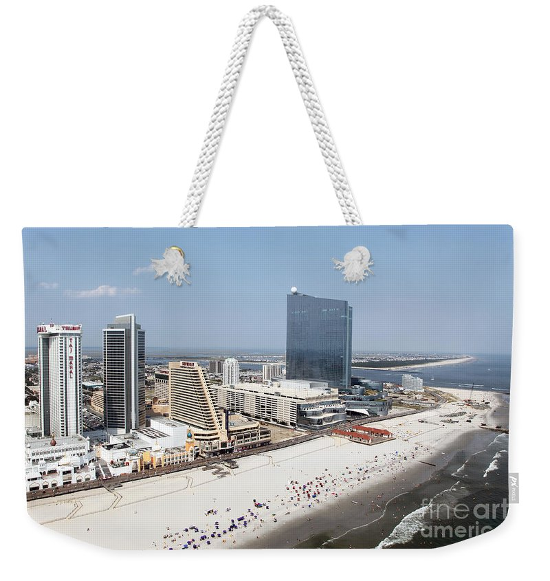 Aerial Weekender Tote Bag featuring the photograph Aerial Of Downtown Atlantic City by Bill Cobb
