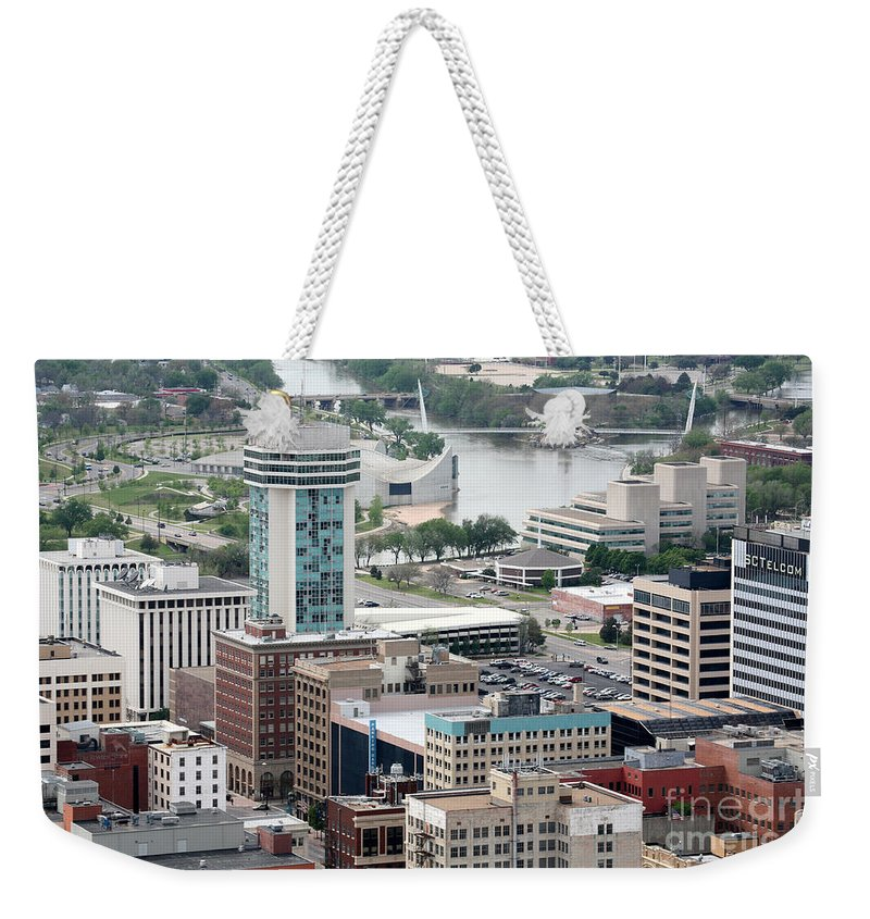250 Douglas Place Weekender Tote Bag featuring the photograph Aerial Of Downtown Wichita by Bill Cobb