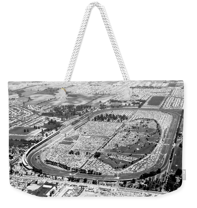 1950's Weekender Tote Bag featuring the photograph Aerial Of Indy 500 by Underwood Archives
