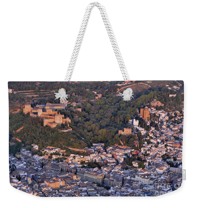 Alhambra Weekender Tote Bag featuring the photograph Aerial Photo Alhambra Granada by Guido Montanes Castillo