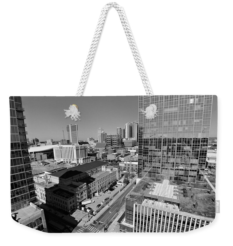 Aerial Photography Downtown Nashville Weekender Tote Bag featuring the photograph Aerial Photography Downtown Nashville by Dan Sproul