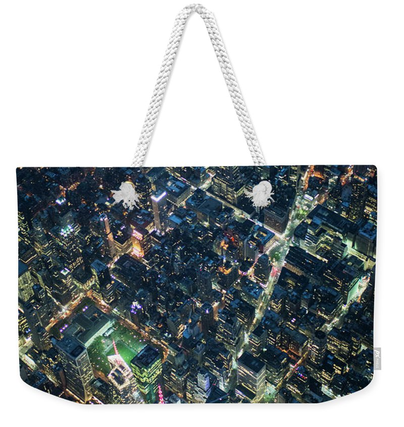 Outdoors Weekender Tote Bag featuring the photograph Aerial Photography Of Bloadway In Dusk by Michael H