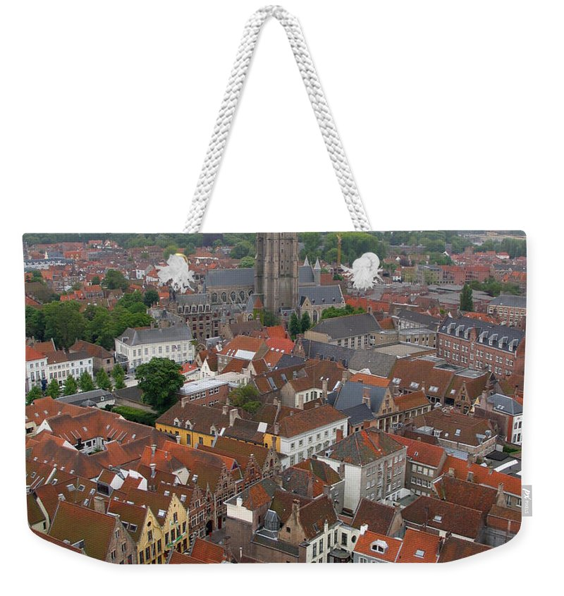 Bruges Weekender Tote Bag featuring the photograph Aerial View Of Bruges Belgium by Jason O Watson