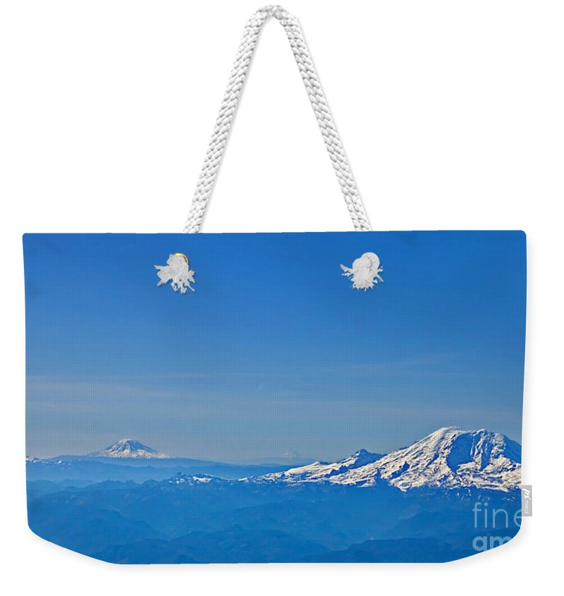 Landscape Weekender Tote Bag featuring the photograph Aerial View Of Mount Rainier Volcano Art Prints by Valerie Garner