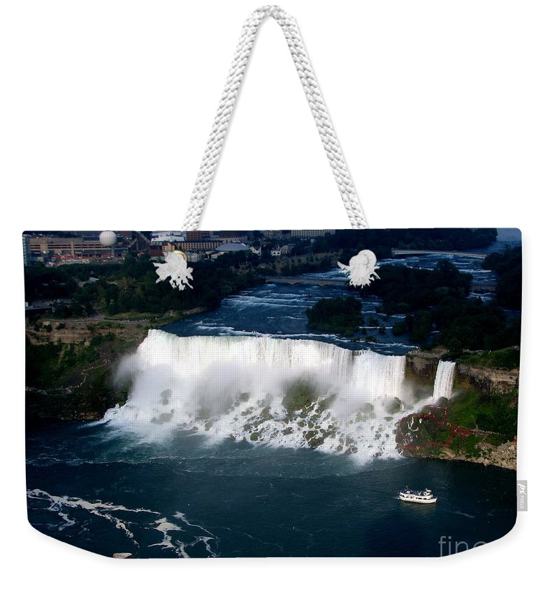Aerial Weekender Tote Bag featuring the photograph Aerial View Of Niagara Falls And River And Maid Of The Mist by Rose Santuci-Sofranko