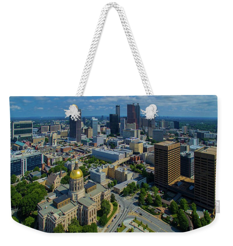 Photography Weekender Tote Bag featuring the photograph Aerial View Of Skyline And Georgia by Panoramic Images