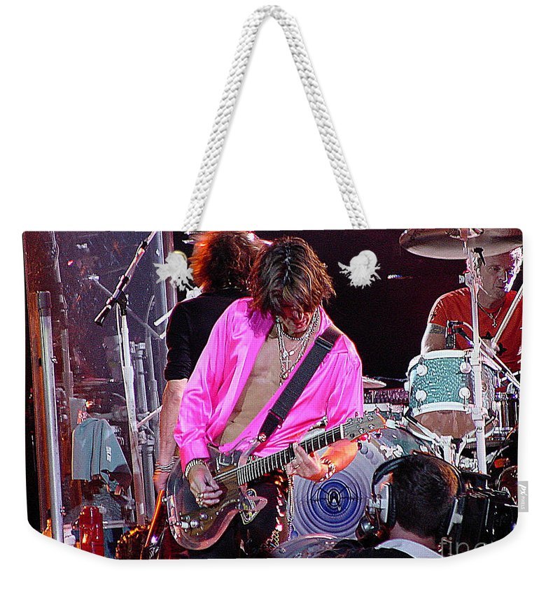 Aerosmith Weekender Tote Bag featuring the photograph Aerosmith - Joe Perry -dsc00121 by Gary Gingrich Galleries