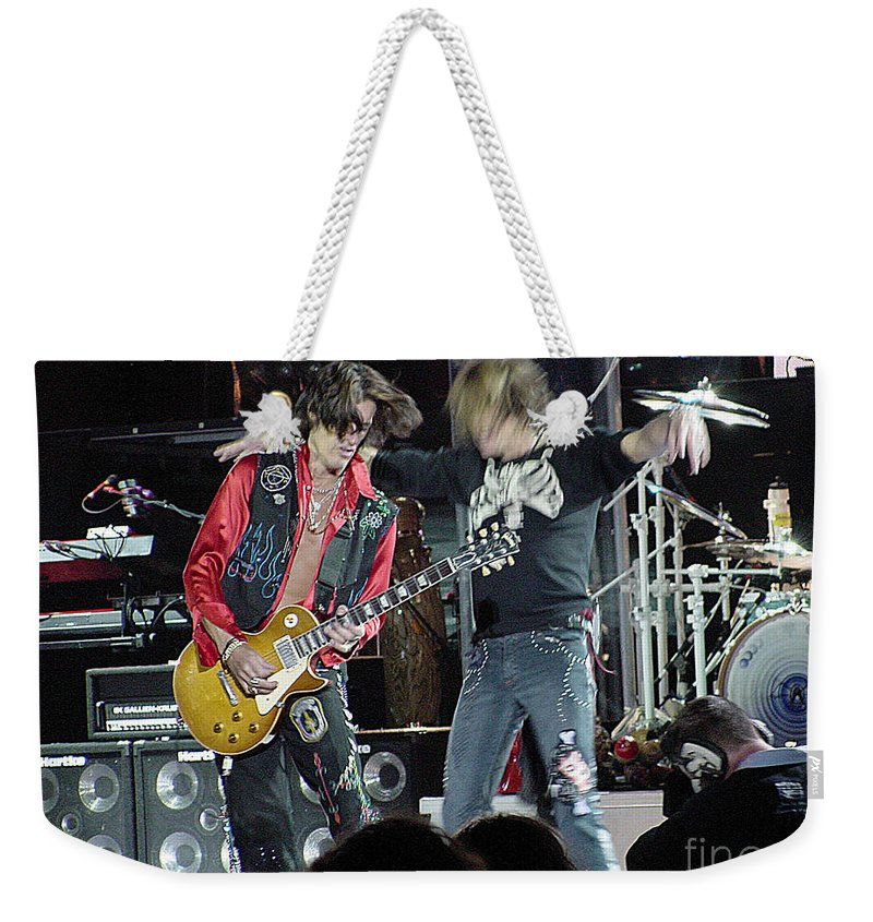 Aerosmith Weekender Tote Bag featuring the photograph Aerosmith - Joe Perry -dsc00182-2-1 by Gary Gingrich Galleries