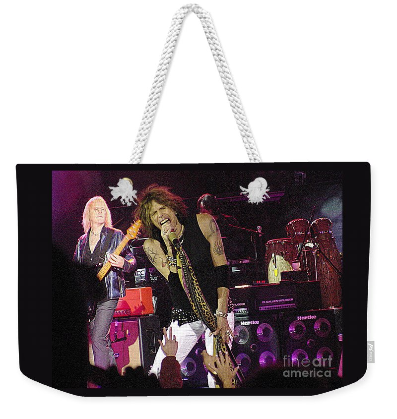 Aerosmith Weekender Tote Bag featuring the photograph Aerosmith - Steven Tyler - Dsc00072 by Gary Gingrich Galleries