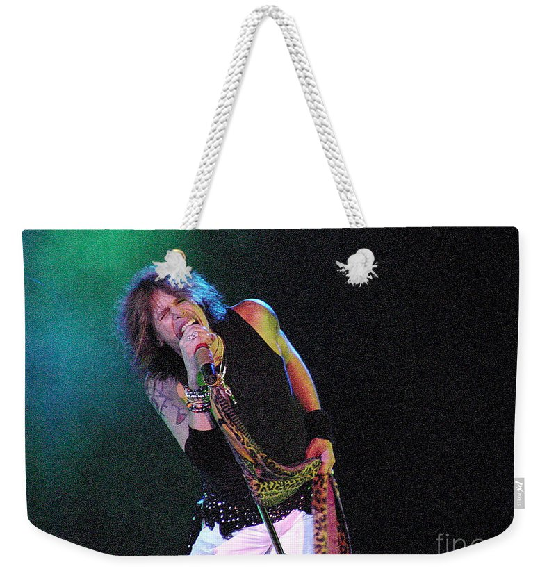 Aerosmith Weekender Tote Bag featuring the photograph Aerosmith - Steven Tyler -dsc00139-1 by Gary Gingrich Galleries