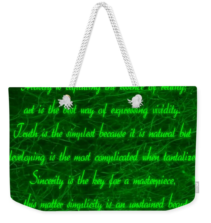 Aesthetic View Weekender Tote Bag featuring the digital art Aesthetic Quote 1 by Withintensity Touch