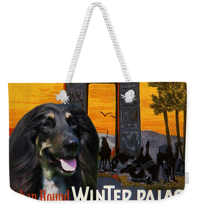 Dog Weekender Tote Bag featuring the painting Afghan Hound Art - Luxor Poster by Sandra Sij