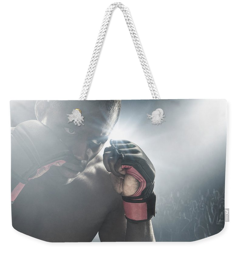 Young Men Weekender Tote Bag featuring the photograph African American Mma Boxer With Gloves by John Fedele