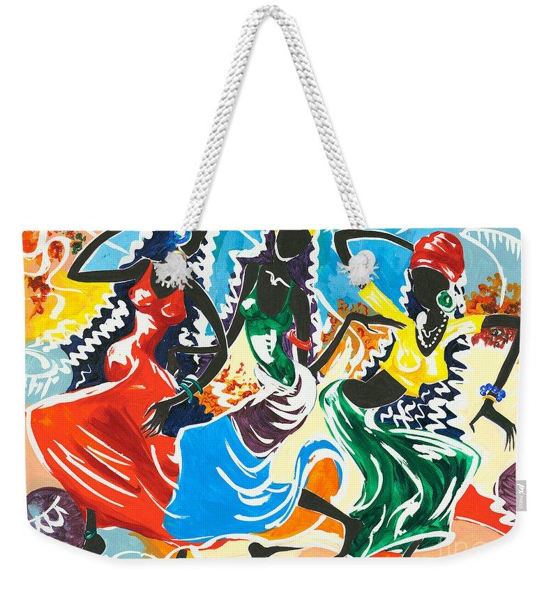 Canvas Prints Weekender Tote Bag featuring the painting African Dancers No. 2 by Elisabeta Hermann