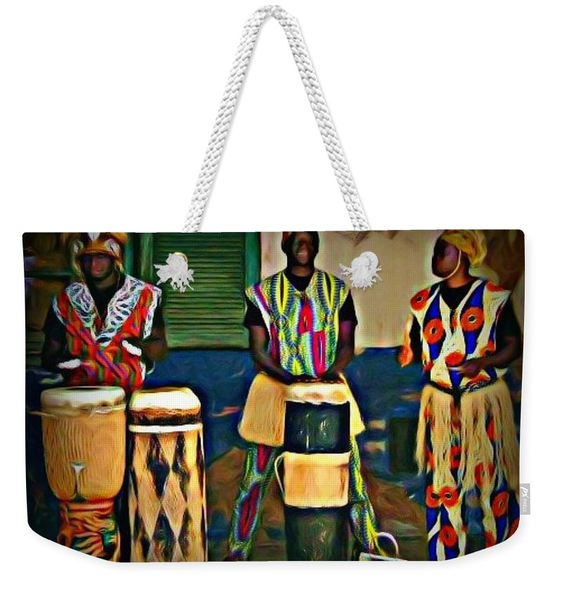 Drum Weekender Tote Bag featuring the painting African Drummers by John Malone