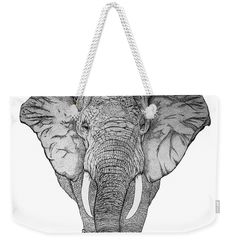 Elephant Weekender Tote Bag featuring the drawing African Elephant by Nick Gustafson