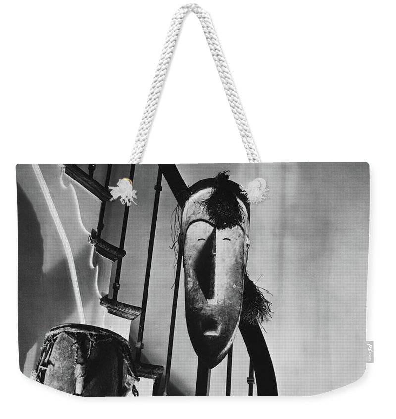 Art Weekender Tote Bag featuring the photograph African Masks And Drums In Eugene O'neill's by Anton Bruehl