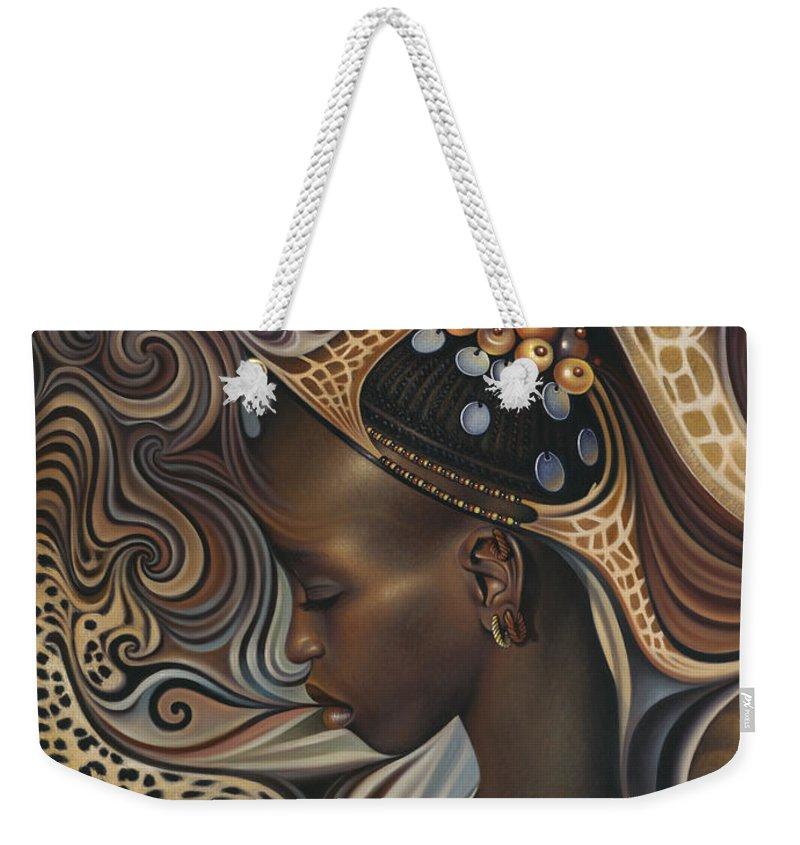 African Weekender Tote Bag featuring the painting African Spirits II by Ricardo Chavez-Mendez