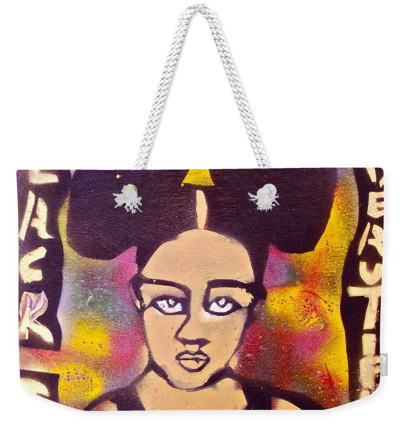 Black Weekender Tote Bag featuring the painting Afropuffs 2 by Tony B Conscious