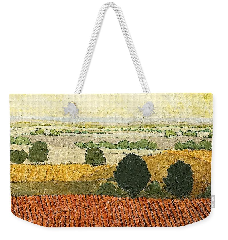 Landscape Weekender Tote Bag featuring the painting After Harvest by Allan P Friedlander