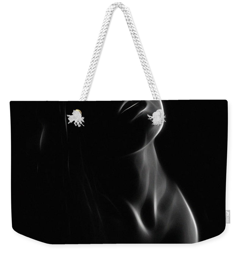 Female Woman Girl Dark Abstract Erotic Face Light Black White Expressionism Weekender Tote Bag featuring the painting After Midnight by Steve K