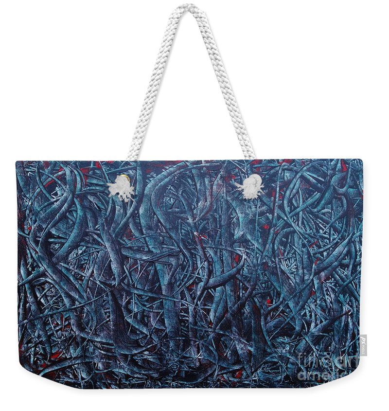 Abstract Weekender Tote Bag featuring the painting After The Apple by Wayne Cantrell