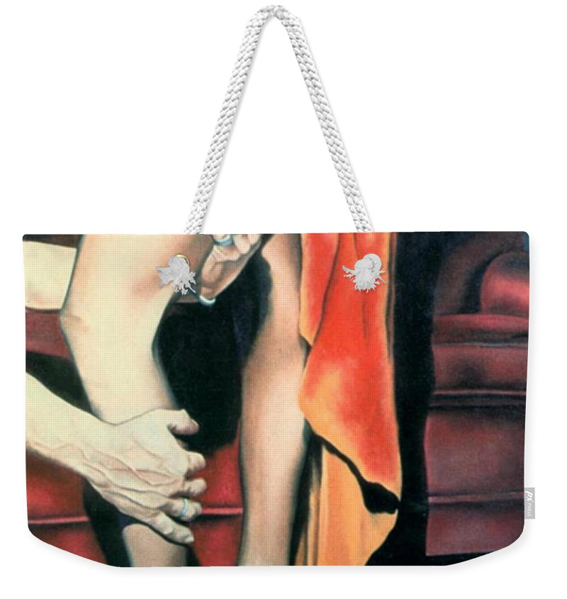 Feminine Weekender Tote Bag featuring the painting After The Ball by Mary Ann Leitch