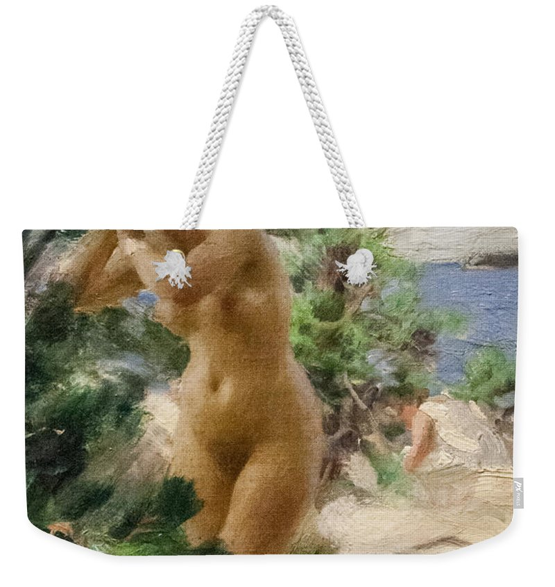 Figurative Weekender Tote Bag featuring the digital art After The Bath by Anders Zorn