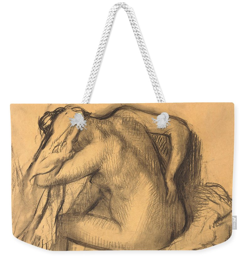 Edgar Degas Weekender Tote Bag featuring the drawing After The Bath .woman Drying Her Hair by Edgar Degas