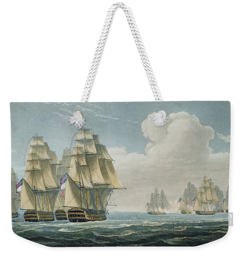 Victorious Weekender Tote Bag featuring the painting After The Battle Of Trafalgar by Thomas Whitcombe