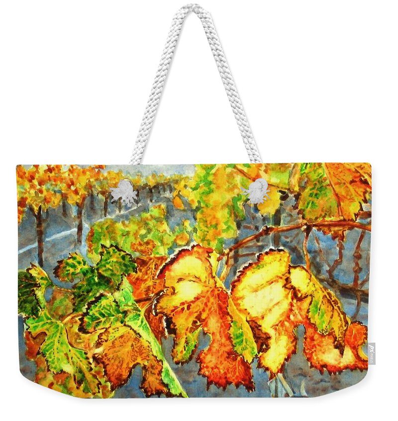 Vineyard Weekender Tote Bag featuring the painting After the Harvest by Karen Ilari