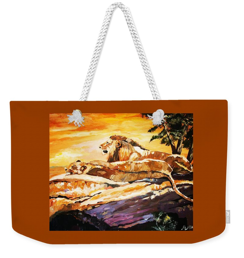 Animals Weekender Tote Bag featuring the painting After The Hunt by Al Brown