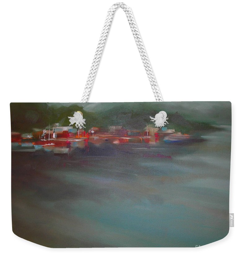 Stormy Weekender Tote Bag featuring the painting After The Storm by Mary Hubley