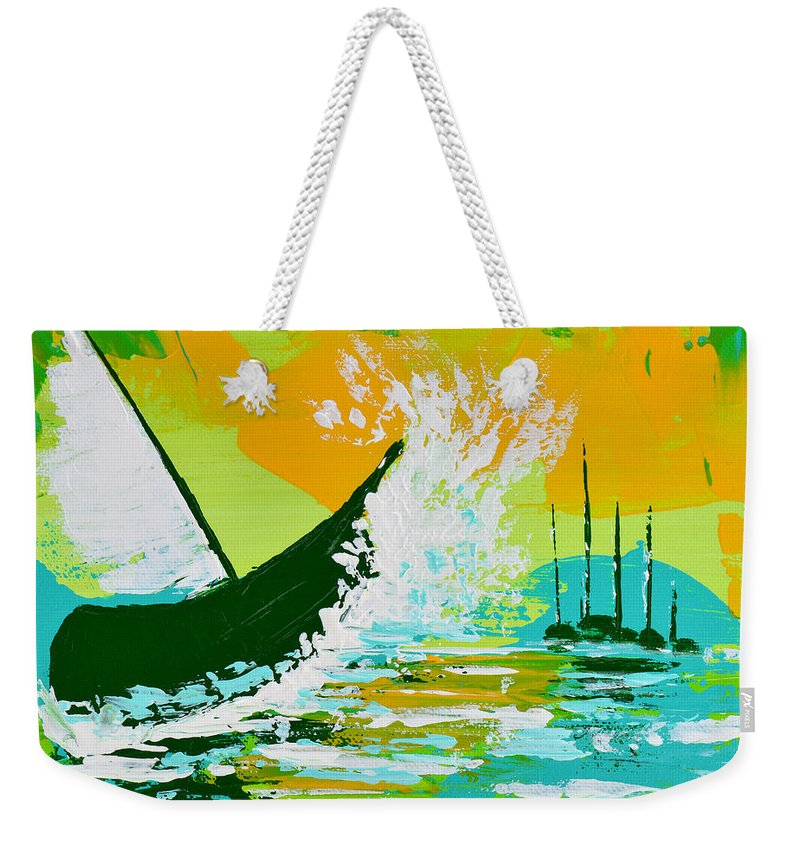 Boat Weekender Tote Bag featuring the painting After The Wake by Donna Blackhall
