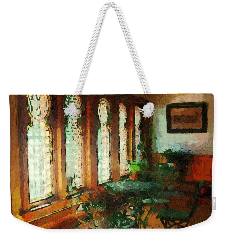 Cafe Weekender Tote Bag featuring the painting Afternoon At Le Cafe Des Vignes by RC DeWinter
