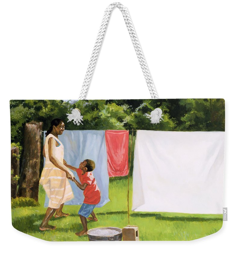 Motherhood Weekender Tote Bag featuring the painting Afternoon Break by Colin Bootman