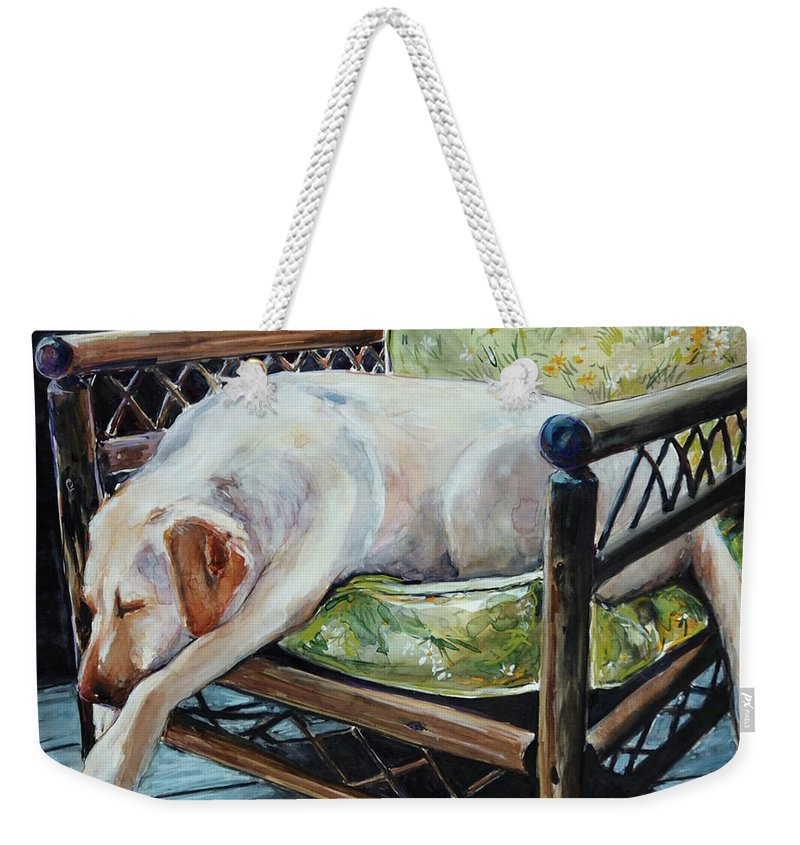 Yellow Labrador Retriever Weekender Tote Bag featuring the painting Afternoon Nap by Molly Poole