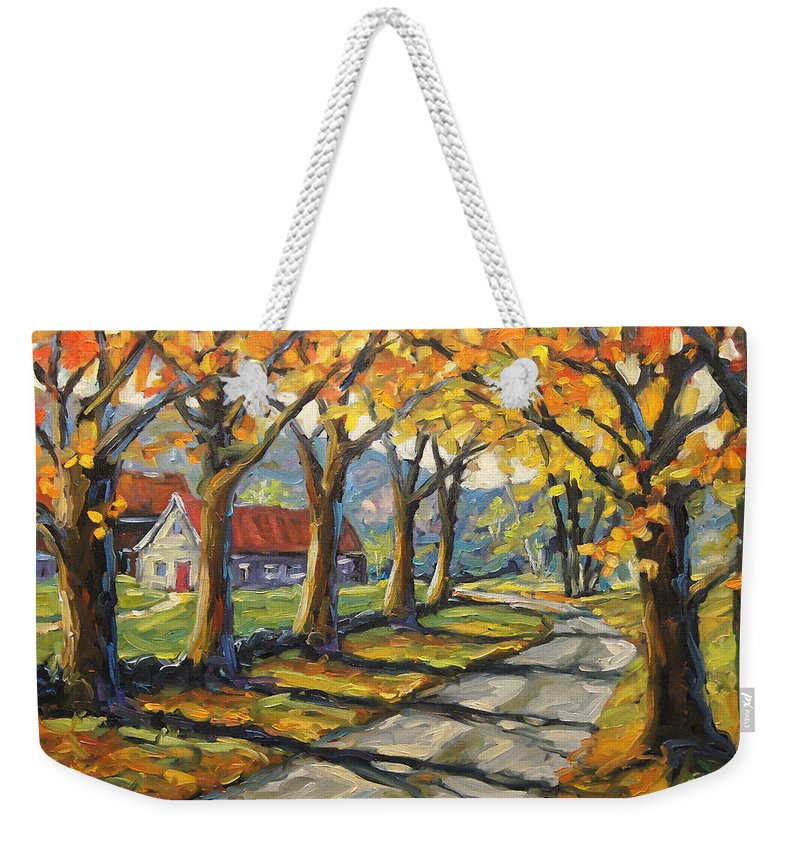 Canadian Landscape Created By Richard T Pranke Artiste Quebecois Weekender Tote Bag featuring the painting Afternoon Shadows By Prankearts by Richard T Pranke