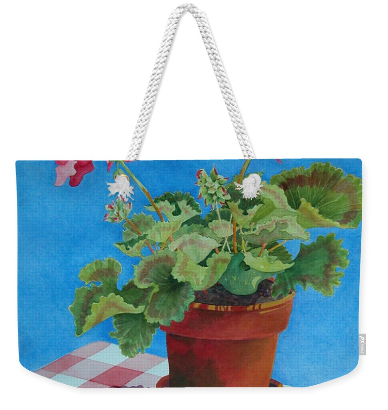 Floral. Duvet Weekender Tote Bag featuring the painting Afternoon Shadows by Mary Ellen Mueller Legault