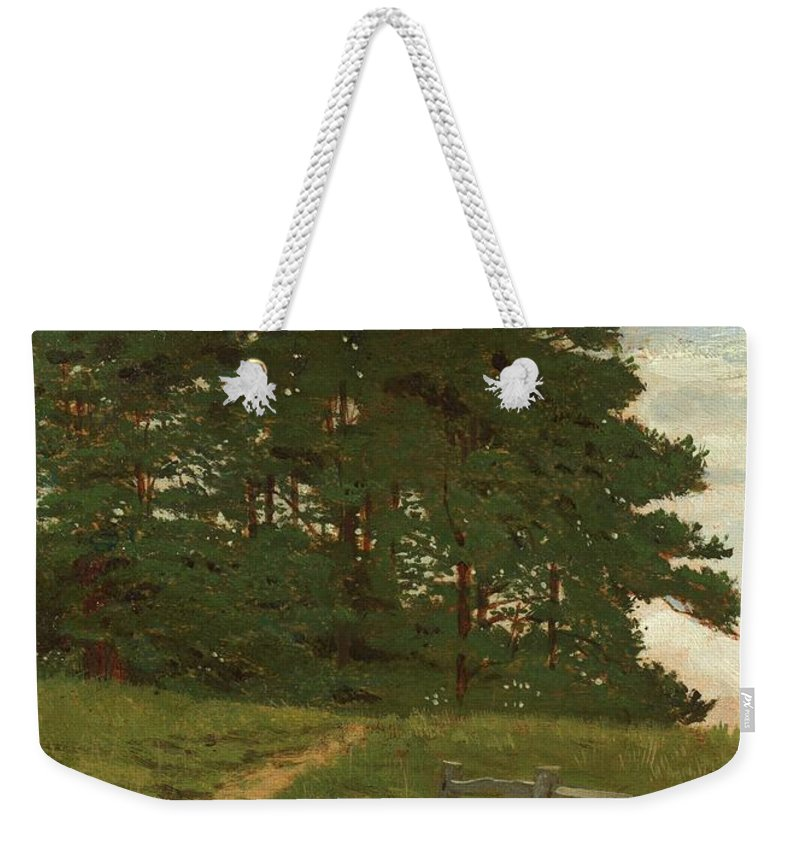 Wootton; Norfolk; England; English; Landscape; Summer; Summertime; Green; Grass; Tree; Trees; Figure; Walking; Fence; Field; Rural; Countryside Weekender Tote Bag featuring the painting Afternoon Wootton by Henry Stacey Marks