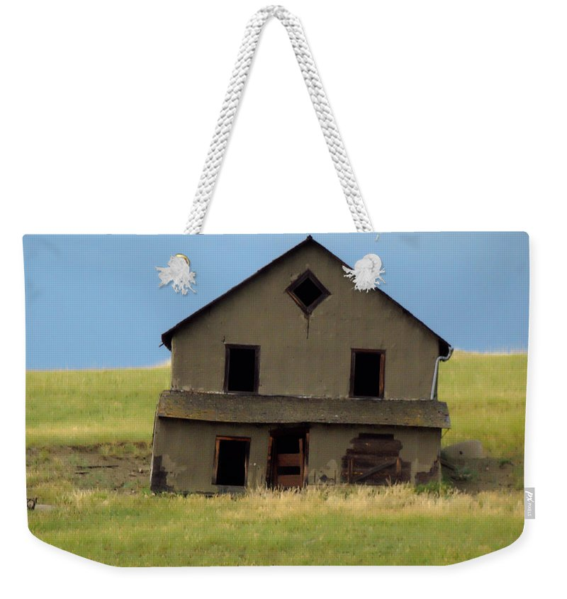 Weekender Tote Bag featuring the digital art Against The Wind Abandoned Homestead by Cathy Anderson