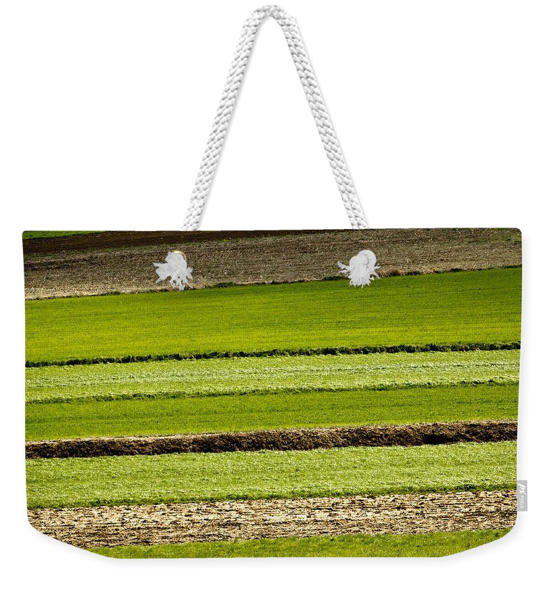 Layer Weekender Tote Bag featuring the photograph Agriculture Layers Fields And Meadows by Brch Photography