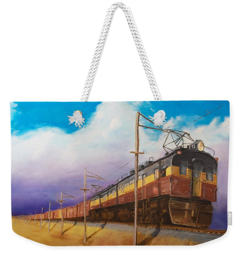 Electric Locomotive Weekender Tote Bag featuring the painting Ahead Of The Weather by Christopher Jenkins