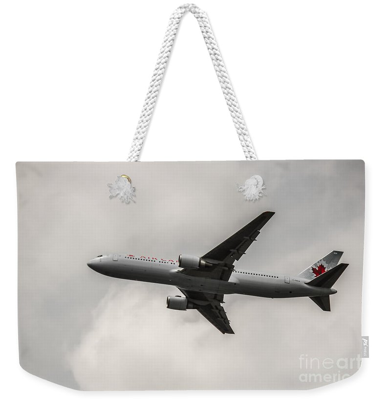 Air Canada Weekender Tote Bag featuring the photograph Air Canada B 767 Monochrome by Rene Triay Photography
