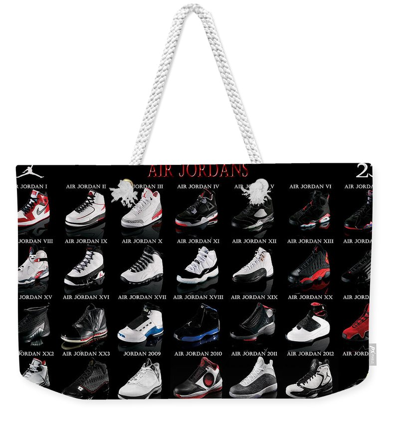 Michael Jordan Weekender Tote Bag featuring the digital art Air Jordan Shoe  Gallery by Brian Reaves bed1094a5c